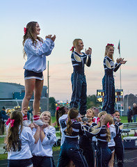 High school football: cheerleaders (rikki480) Tags: cheerleader stunt lift touchdown celebration highschool football game outdoor sport bishop dwenger fortwayne indiana field stadium