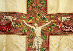 Christ on the Cross (Lawrence OP) Tags: embroidery stone dominican sisters staffordshire vestments angels crucifixion christ jesus saviour crucifix