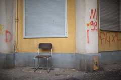 Please take a seat #494 (sterreich_ungern) Tags: miseenabyme bib lost abandoned closed windows columns yellow grey white berlin 44 collection dog piss chair stuhl seat photography grafitti red brown metal tristesse deutschland germany decay