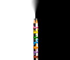 Colour - 20 (mithila909) Tags: stilllife pencil colour blackandwhite thread concept