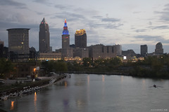 Cleveland 2016-3 (michaelramsdell1967) Tags: sky sunrise city street water reflection river light clouds urban architecture cityscape bridge building dawn ohio cleveland american league champions cle cuyahoga county