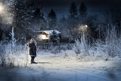 one wintry night (where the snowy path leads) (iwona_podlasinska) Tags: snow boy blue night winter dark house path child dimamanuel