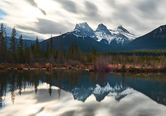 The 3 Sisters (dhugal watson) Tags: 3 sisters canmore alberta canada mountain reflection water river fuji 1024 snow landscape xt1