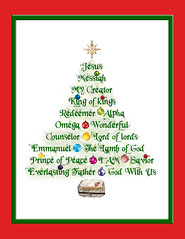 Christmas Tree Names of Jesus (JC Loves U) Tags: christmas tree names jesus christ manger messiah king creator redeemer alpha omega wonderful counselor lord emmanuel lamb god prince peace savior everlasting father with us ornaments star
