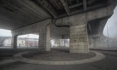 Concrete Contours (Birdmanjag) Tags: bridge runcorn hdr urban concrete duelcarriageway fog winter towns road