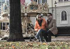 Couple in a Park (thomas.bee) Tags: couple autumn park bench love carousel roundabout winter
