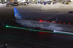 Frontier A320NEO N301FR at SFO (ChasenSFO) Tags: frontierairlines fft f9 frontier a320neo neo a320 320 airbus frontierflight sfo ksfo sfia sanfranciscointernationalairport sanfranciscoairport night exposure ghost nightexposure n301fr winglets sharklets