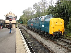 55019 Royal Highland Fusilier stands at Ongar, EOR Epping Ongar Railway 08.10.16 (Trevor Bruford) Tags: eor epping ongar heritage railway br blue train diesel locomotive deltic d9019 9019 55019 royal highland fusilier napier ee english electric dps preservation society
