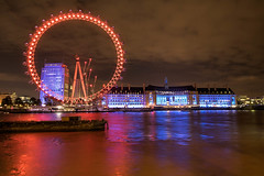 London Eye and County Hall (21mapple) Tags: london londoneye eye countyhall marriott england britain riverthames river thames outdoors outdoor outside old out long exposure longexposure clouds night cityscape