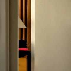 from the hallway, too (dotintime) Tags: hallway view oblique corner bedroom interior lamp shade dresser bureau drawer curtain gold dotintime meganlane