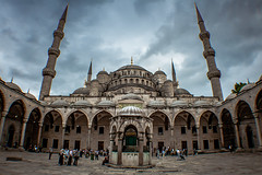 Sultan Ahmet Camii (Mathijs Buijs) Tags: sultan ahmed sultanahmet blue mosque minarets cloudy moody istanbul golden horn turkey europe asia middle east fisheye canon eos 400d terrible fringing ahmet
