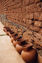 A line of pots drying in Tzintzuntzan, a 'Pueblo Magico' near Patzcuaro in Michoacan, Mexico (albatz) Tags: pots drying tzintzuntzan pueblomagico patzcuaro michoacan mexico