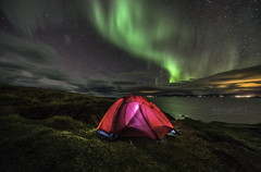 Beautiful Aurora with Tent, Northern light at Hvitserkur, Iceland (Alongkot.S) Tags: arctic aurora beach beautiful borealis coast europe formation galaxy hvitserkur iceland island landmark landscape light lights nature night northern ocean polaris red rock sea sky stack star tent troll volcanic