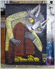 Graffiti (Thiago Goms), North London, England. (Joseph O'Malley64) Tags: uk greatbritain england streetart london wall cat graffiti mural paint britain spray british walls cans aerosol wallmural northlondon muralist thiagogoms