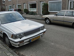Classic couple / 183 (ClassicsOnTheStreet) Tags: classic car amsterdam japan japanese twins classiccar couple nissan diesel outdoor duo 80s automatic pairs vehicle oldtimer nippon streetphoto spotted 1989 28 1983 1980s laurel streetview datsun noord japans amsterdamnoord klassieker gespot 2013 28d straatfoto carspot tweetal classiccouple nieuwendammerstraat 86tvx2 48zdr6