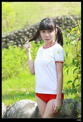 nEO_IMG_DP1U5709 (c0466art) Tags: school light red portrait baby hot cute girl face sport female canon pose japanese big high eyes uniform asia pretty pants action sweet outdoor gorgeous young taiwan style lovely cloth charming 1dx  c0466art