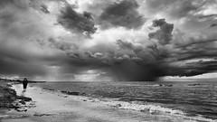 time to leave (JimfromCanada) Tags: summer blackandwhite cloud lake ontario canada storm beach water monochrome rain danger nikon waterfront thunderstorm thunder portelgin d800 jimsmith jimfromcanada