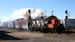 CN 4028, Blair, Neenah, 12 Sept 15 (kkaf) Tags: smoke zebra blair neenah gp9rm