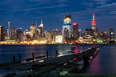 Middtown Manhattan from Hoboken, NJ (Rafakoy) Tags: city nyc longexposure sky ny newyork water colors skyline architecture night clouds digital reflections river lights pier nikon cityscape waterfront manhattan nj esb hudsonriver empirestatebuilding hoboken d800 afs2470mmf28ged nikond800