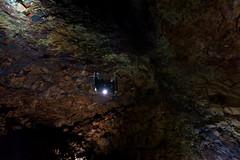 Der Lift kommt wieder herunter in das Innere der Magmakammer des Thrihnukagigur, Tour Inside the volcano, Island