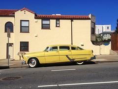 Golden (misterbigidea) Tags: sf auto sanfrancisco street city classic beauty car yellow vintage gold golden afternoon explore hotwheels commute parked hudson hornet roadside avenues