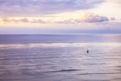 Tranquil (Melanie Voigt) Tags: ocean california ca sunset sea sky beach nature rain clouds sailboat photography golden san diego socal hour breeze