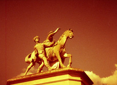 Wrest Park Equine Sculpture (pho-Tony) Tags: auto film japan pen japanese 28mm olympus 200 frame half vista 1970 pocket halfframe 1970s agfa olympuspen olympuspenee3 zuiko 18x24 compact f35 poundland englishheritage c41 ee3 redscale tetenal 18mmx24mm