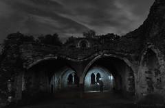 a nightly adventure at Waverly Abbey (lunaryuna) Tags: england surrey farnham waverleyabbey riverwey ruins cistercianmonastry abandoned decayed beautyofdecay night nighttime nightphotography nocturnalphotography nightsky sky starrynight stars photographer cutout selectivecolour nightfun lunaryuna