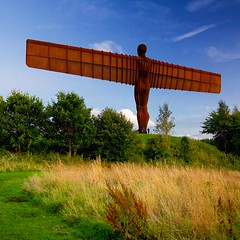 outskirts of Gateshead (khrawlings) Tags: angelofthenorth gateshead a1 wings sculpture evening blue anthonygormley flasher rear behind