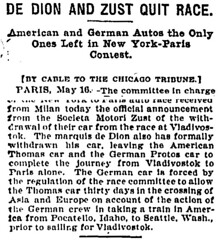 1908-05-17. Chicago Tribune. DE DION AND ZUST QUIT RACE (foot-passenger) Tags: zst dedionbouton greatrace newyorkparis 1908 may chicagotribune americannewspaper