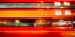 Warp Speed (Sean Batten) Tags: bus red london england unitedkingdom gb waterloo waterlooroad blur motionblur city urban nikon df 35mm night nighttime tfl londontransport