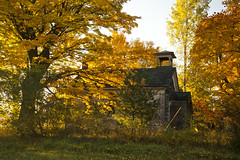 Old School in Benona Township (kevin kludy) Tags: building country rural autumn fall ruralfall michigan usa foliage trees yellow orange golden morning sunlight