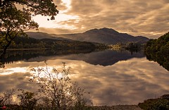 Evening on Achray (TheWildFireOne) Tags: ben venue loch achray highlands water evening green sky clouds mountains reflections autumn lake scottish landscape trossachs 500px