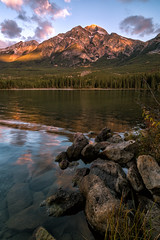 Pyramid Lake (Dan Warkentin) Tags: mountain rockies lake reflection rocks autumn