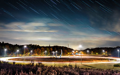 Stichtse Rotonde Amersfoort, Netherlands (Kjeldvdh) Tags: holland star stars roundabout netherlands niederlnde cars movement long exposure tree autumn fall herbst road tango dance red yellow green orange stack startrail night nacht nightscape city utrecht heuvelrug soest truck streetlight lightpolution sterne depth gras grass plants dutch blue white black himmel luft lucht statue standbeeld streak cloud wolke scape stadt scenic art car light dof nikon d5500 automne foliage