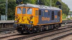 73962 (JOHN BRACE) Tags: 1966 english electric vulcan foundry built class 73 electro diesel 73962 e6032 renumbered 73112 february 1974 then again 73204 1988 while use with gatwick express rebuilt for gb railfreight 2014 named dick maddbutt seen tonbridge 1432 via ashford light engine move 1551 its return running 10 early reason unknown