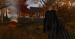 You light the spark in my bonfire heart. (Capre Roecastle) Tags: second life cape warrior maiden boy girl blonde medieval fantasy bonfire fall autumn soldier james blunt song heart smoke incognito secret