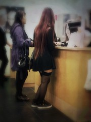 In a shop... (iEagle2) Tags: female femme girl iphone iphone4 legs stockings hair