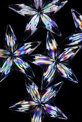 Psychedelic Stars (Karen_Chappell) Tags: star stilllife plastic crosspolarization black colours colourful multicoloured blue pink yellow green ornaments decor decoration xmas noel christmas holiday stars