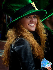 Uno (Owen J Fitzpatrick) Tags: ojf people photography nikon fitzpatrick owen j joe pretty pavement chasing d3100 ireland editorial use only ojfitzpatrick eire dublin republic city tamron unposed social beauty beautiful attractive woman female face smile smiling candid candidphotography candidphoto natural green buckle blonde strawberry leather visage hat outsize large hair long length eye contact 2014 st pats patricks day saint travel