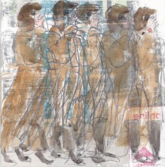 # 335 (30-11-2016) (h e r m a n) Tags: vrouw woman lopen walking telefoon telephone mobilephone mobile mobiel herman illustratie tekening bock oosterhout zwembad 10x10cm 3651tekenevent tegeltje drawing illustration karton carton cardboard smartphone