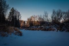 Река Лемью уже полностью замёрзла