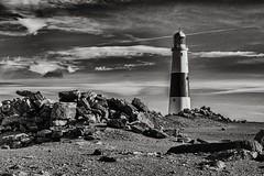 Portland Bill (Evoljo) Tags: portlandbill lighthouse rocks sea sky clouds dorset coast blackwhite light warning nikon d500