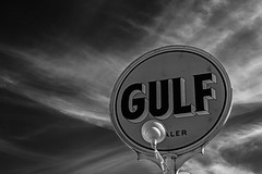 Gulf (Mike Schaffner) Tags: bw blackwhite blackandwhite clouds gasstation gulf monochrome restored servicestation sign sky vintage waco texas unitedstates us