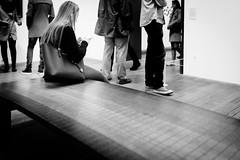 Phone Alone (Sean Batten) Tags: london england unitedkingdom gb tatemodern tate blackandwhite bw city urban artgallery bench phone person woman people nikon df 35mm