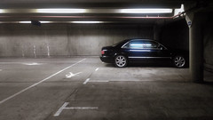 Below ground (JonMad) Tags: audi a8 concrete car park urban blue grey leadinglines