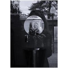 Reflection (michelle@c) Tags: reflection me mirror outside pavillonsuisse lecorbusier citéinternationaleuniversitaire parisxiv bichrome blackblue michellecourteau