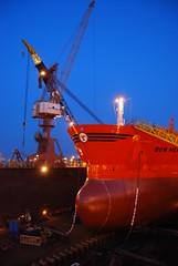 Bow Mekka in Dry Dock (Gunnar Eide) Tags: ocean sea night yard dock ship crane transport maritime shipping tanker tankers odfjell