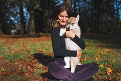Veronika and Sasha (Jake Arciniega) Tags: park portrait fall oregon canon puppy portland happy wolf bokeh 28mm siberianhusky 7d ark oregoncity 28mm18 vsco canon7d vscocam
