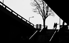 walk this way (Georg Ka) Tags: street bridge urban sun silhouette backlight composition contrast paper dresden high cut streetphotography human gegenlicht carolabrcke